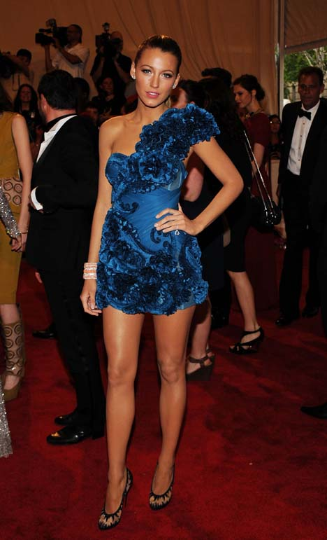 Blake Lively in a Blue Marchesa dress at the Costume Gala
