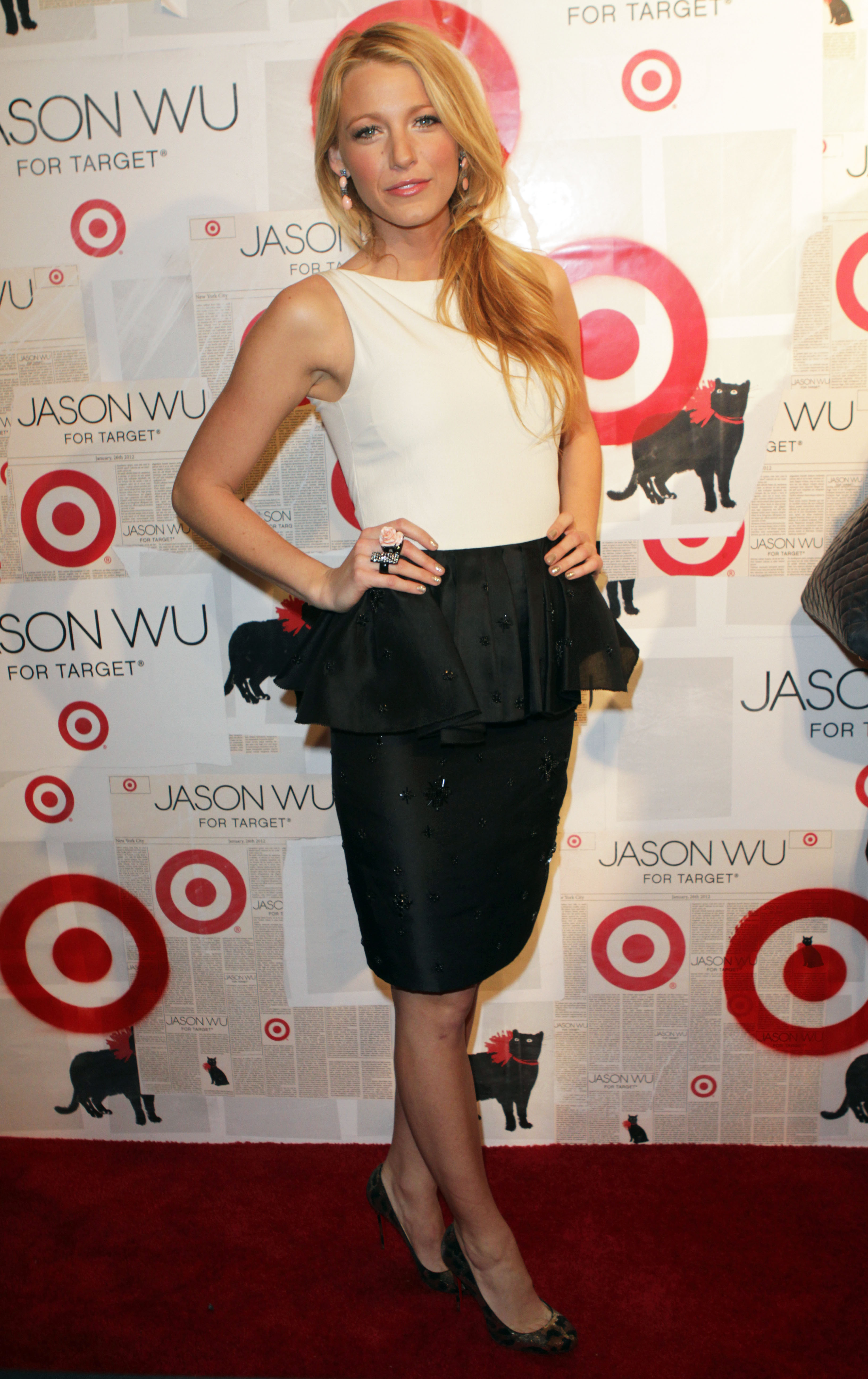 Blake Lively in a Jason Wu black and white peplum outfit at Jason Wu for Target Event in New York.