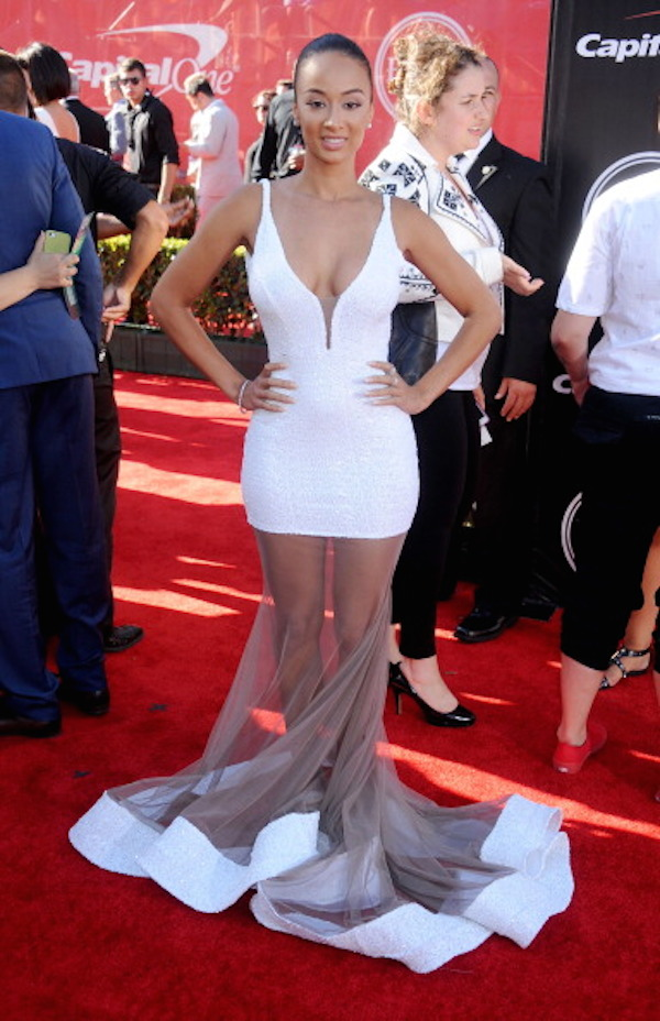 Reality Star Draya is rocking a white sheer Michael Costello gown at the 2014 Espy Awards in a Michael Costello gown.