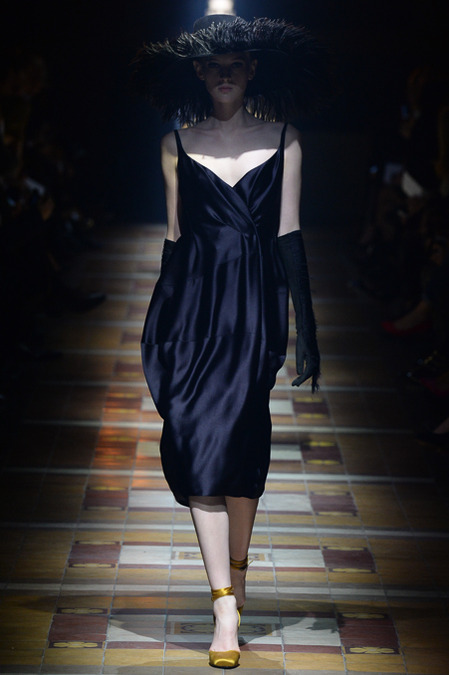 Model wearing a black silk dress from Lanvin Fall 2014 Collection