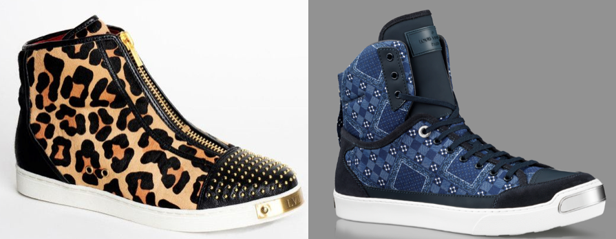 LVL XIII sneaker with toe plate (left) & Louis Vuitton's On the Road sneaker (right) PHOTO CREDIT : thefashionlaw.com