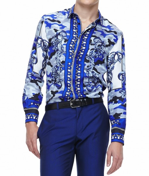 Diddy wears versace scarf camo print shirt fashionsizzle for Blue and white versace shirt