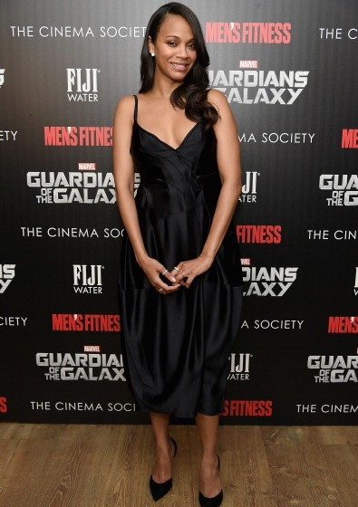 Zoe Saldana Guardians Of The Galaxy New York Screening 395x560 Zoe Saldana Wearing Lanvin at The  'Guardians Of The Galaxy' New York Screening