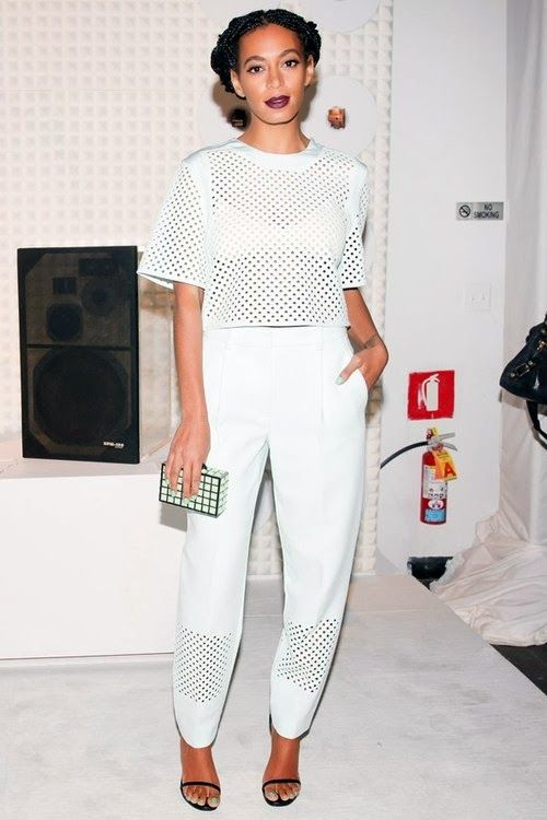 SOLANGE KNOWLES in a white outfit from Philip Lim Resort 2014: