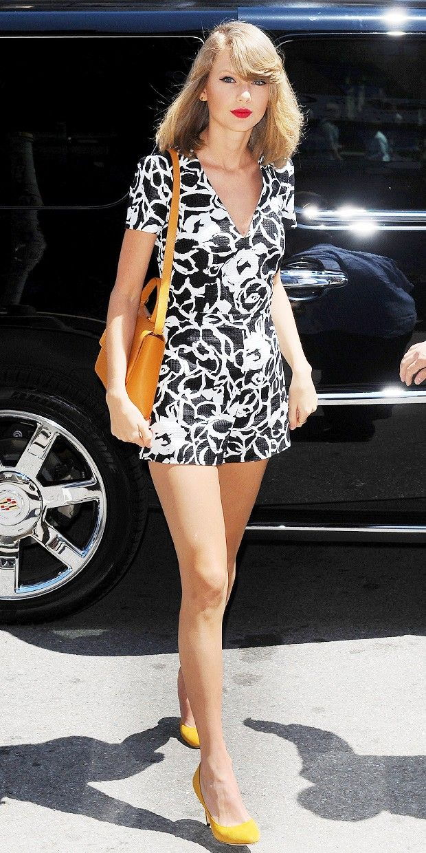 Taylor Swift rocking a black and white Romper