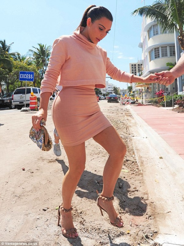Kim Kardashian rocking a In A Nude Turtleneck Crop