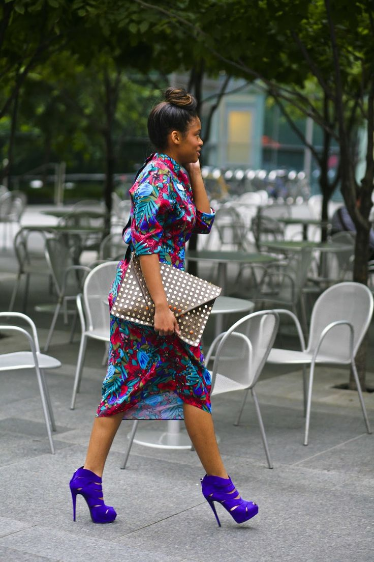Floral dress, purple shoes, studded clutch