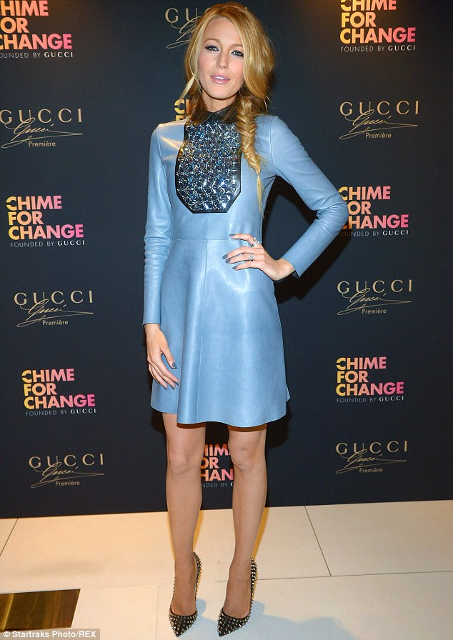 Blake Lively in a blue Gucci dress at the Chime for Change Event