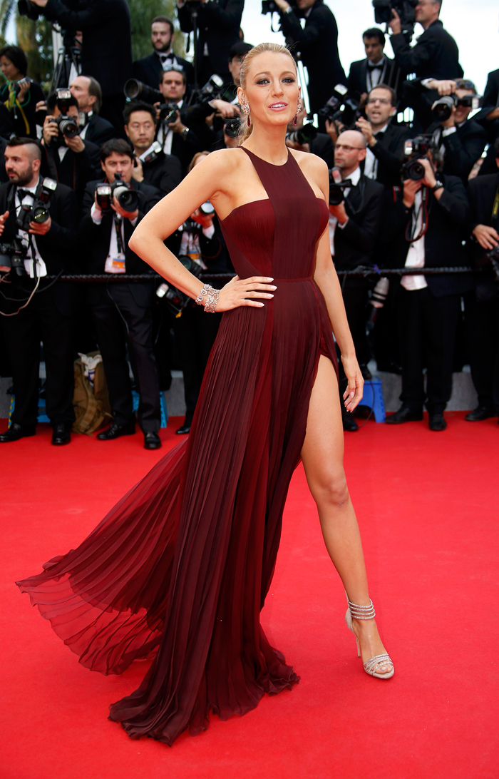Blake Lively in a Gucci dress at Cannes Film Festival 2014 at premiere of Nicole Kidman's film Grace of Monaco).