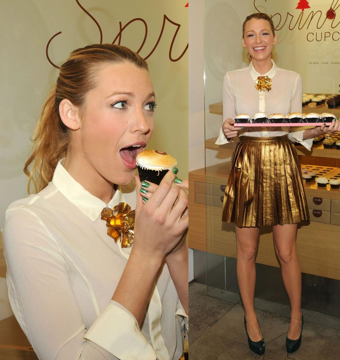 Blake Live rocking a Gucci gold pleated skirt with a white button-up shirt and green Brian Atwood pumps for a Sprinkles cupcake event in NYC.