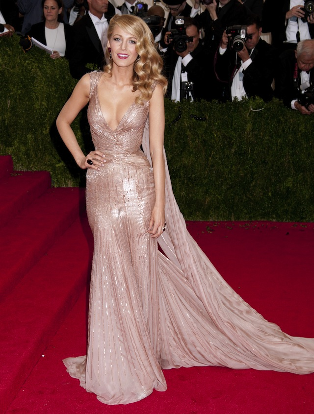 Blake Lively in a Gucci gown at the Met Gala 5/5/2014