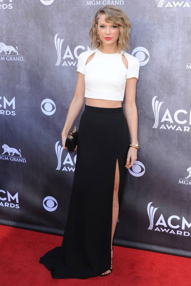 Taylor Swift, in J. Mendel, attends the 49th Annual Academy Of Country Music Awards at the MGM Grand Garden Arena on April 6, 2014 in Las Vegas, Nevada.
