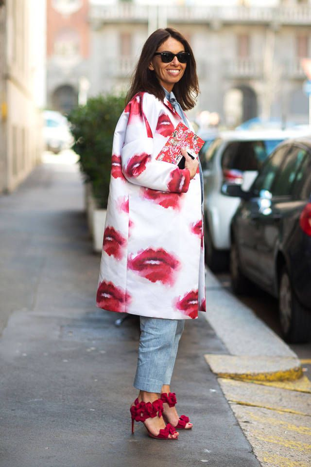 Lips printed coat ..Milan Fashion Week