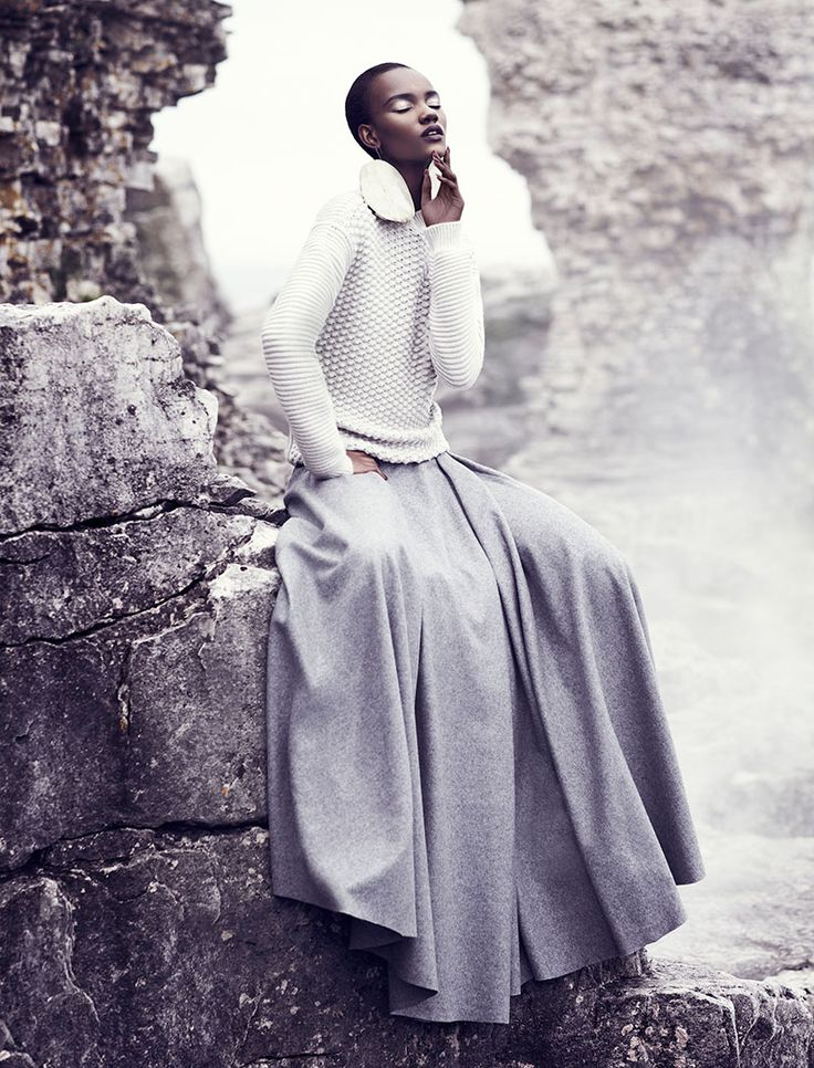 Fashion model Herieth Paul rocks all grey in the September 2013 edition of Fashion Magazine lensed by photographer Chris Nicholls.