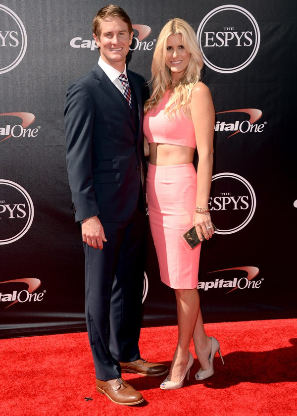 Professional race car driver Ryan Hunter-Reay (L) and model Beccy Gordon attend The 2014 ESPYS at Nokia Theatre L.A. Live on July 16, 2014 in Los Angeles, California. (Photo by Jason Merritt/Entertainment/Getty Images)