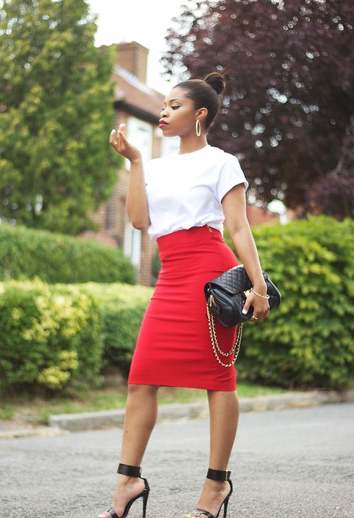 White blouse ,red Pencil skirt with black shoes and bag