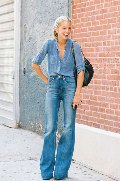 Denim blouse and flared jeans