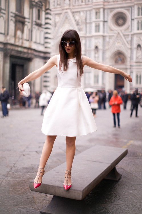 White dress red shoes