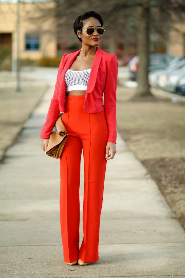 Meshed Crop top, High waisted pants and jacket