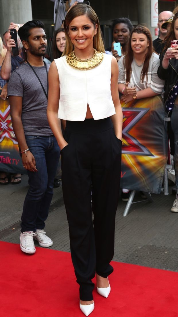Cheryl Cole wearing Temperley London trousers and Rupert Sanderson shoes at The X Factor auditions in London