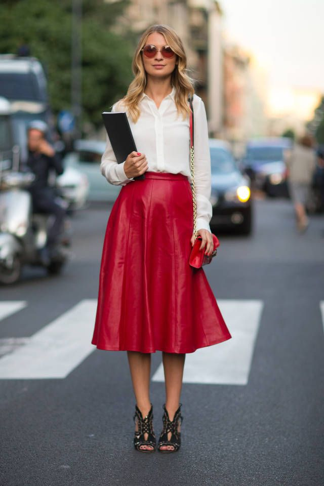 white blouse, red leather skirt