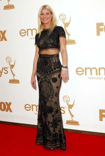 Gwyneth Paltrow in a Pucci Cropped top two piece maxi skirt outfit Emmy Awards