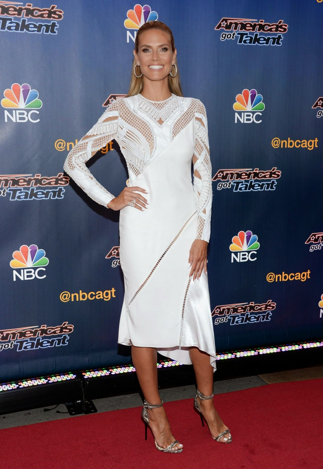 "heidi klum america s got talent season 9 pre show red carpet event  SIZZLE SPOT : Heidi Klum in Versace at ""Americas Got Talent"" Red Carpet Event"