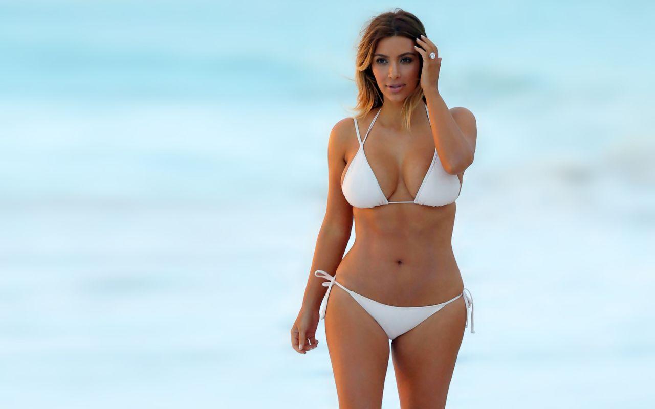 Kim Kardashian in a white Bikini