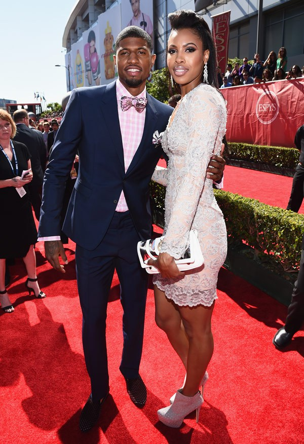 NBA player Paul George with girlfriend Callie Rivers attend The 2014 ESPYS at Nokia Theatre L.A. Live on July 16, 2014 in Los Angeles, California. (Photo by Michael Buckner/Entertainment/Getty Images For ESPYS)
