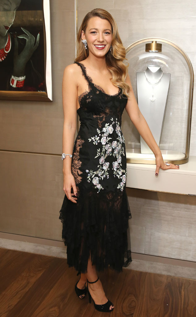 Blake Lively at the Van Cleef & Arpels' 5th Avenue flagship store in Marchesa