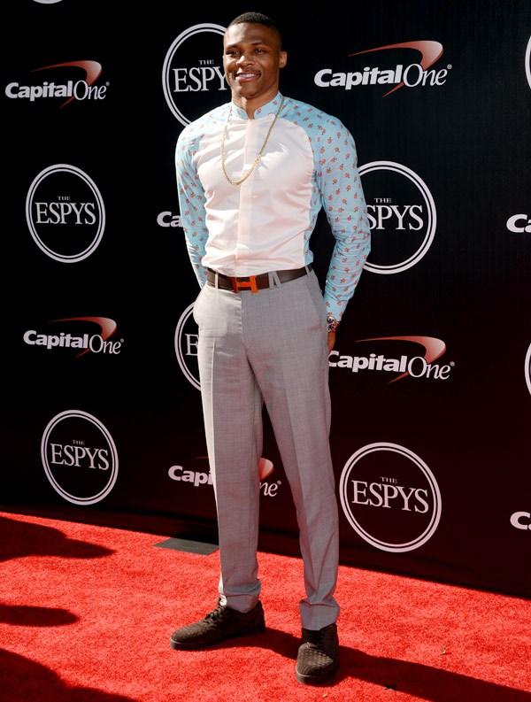 NBA player Russell Westbrook attends The 2014 ESPYS at Nokia Theatre L.A. Live on July 16, 2014 in Los Angeles, California. (Photo by Jason Merritt/Entertainment/Getty Images)
