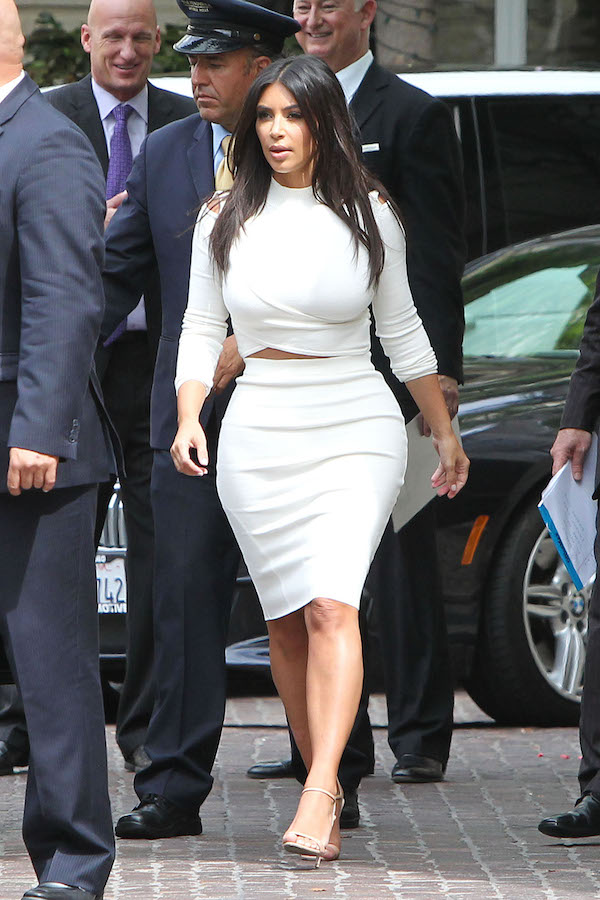 1 Jonathan Simkhai White Cutout Stretch Knit Top and Pencil Skirt Kim Kardashian wears  Jonathan Simkhai