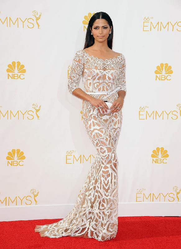 Camila Alves: wore a white mosaic-pattern dress from Zuhair Murad's Resort 2015 Ready-to-Wear Collection with a small white clutch.