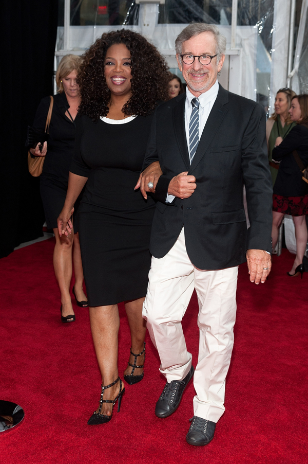 "Getty Producers Oprah Winfrey and Steven Spielberg attend ""The Hundred-Foot Journey"" New York premiere at the Ziegfeld Theater on August 4, 2014 in New York City."