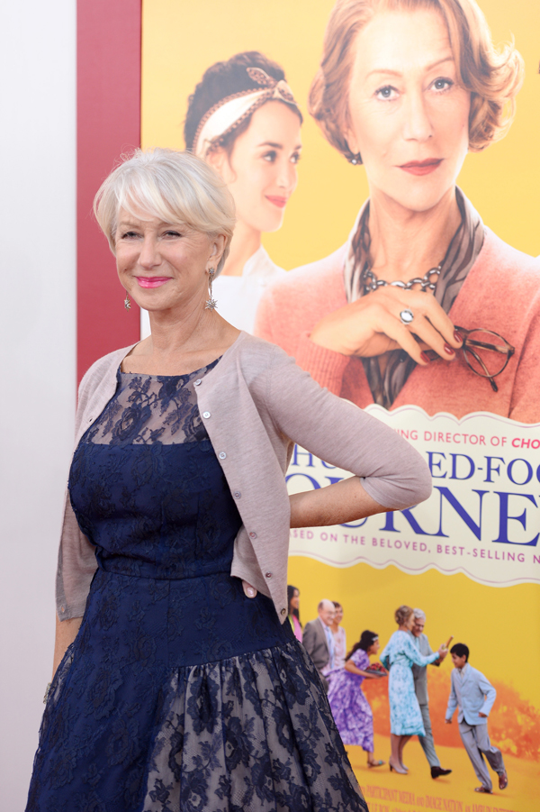 "Actress Helen Mirren attends the ""The Hundred-Foot Journey"" New York premiere at Ziegfeld Theater on August 4, 2014 in New York City."