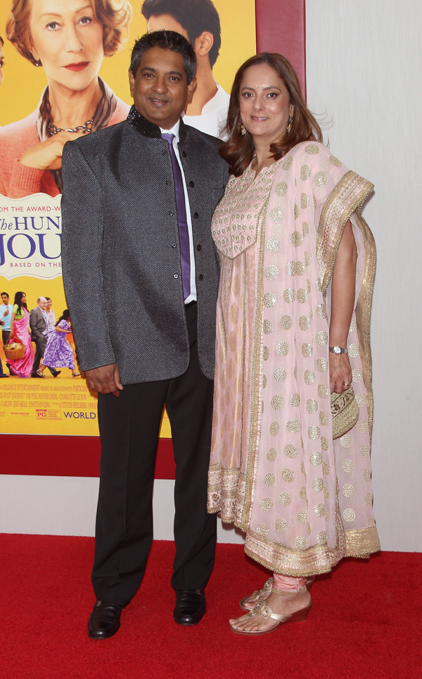 "Floyd Cardoz and wife attend the ""The Hundred-Foot Journey"" New York Premiere at Ziegfeld Theater on August 4, 2014 in New York City."