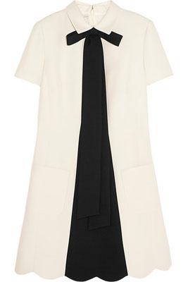 Valentino Bow-Embellished Wool-Blend Crepe Mini Dress