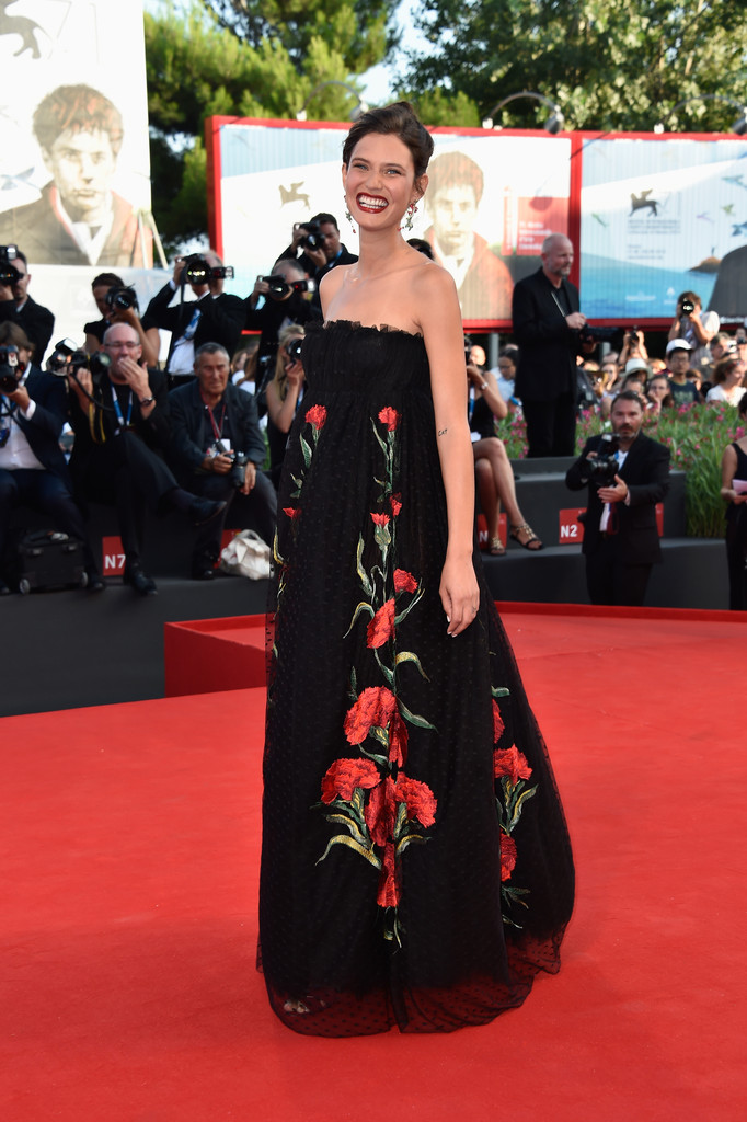 Everything was coming up flowers for Bianca Balti in a Dolce & Gabbana strapless black chiffon gown