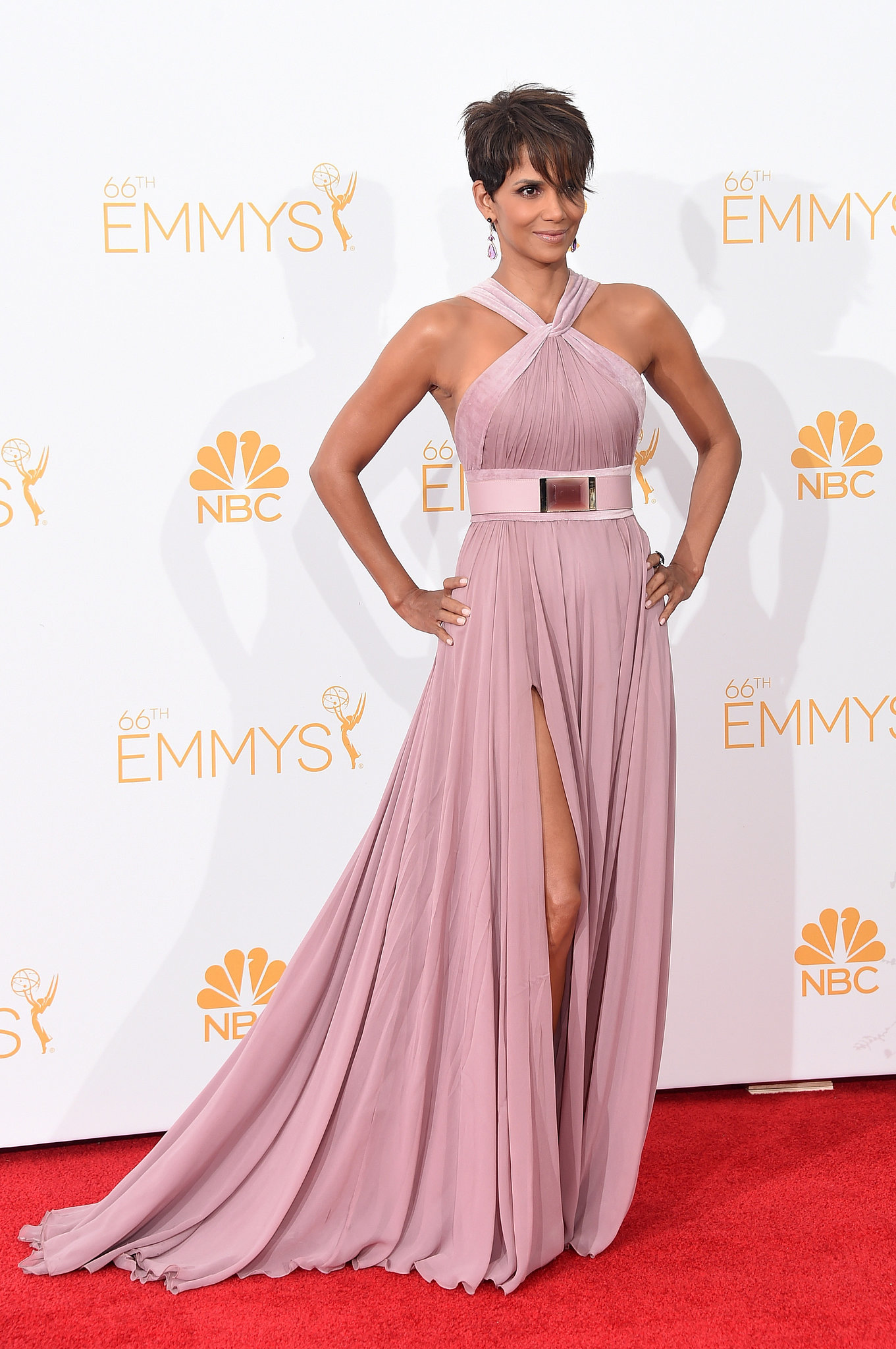 Halle Berry in a halter pink chiffon gown with velvet trim details and a thigh-high slit. She styled her look with Doves amethyst and mother of pearl earrings along with a Sutra sapphire ring .