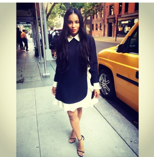Ciara -Wears-Valentino -Two-Tone Wool & Silk-Blend -Crepe -Mini -Dress -In -NYC