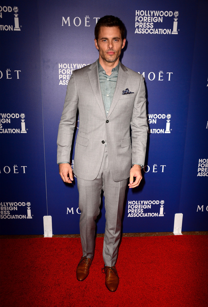 James Marsden rocksa gray suit from Italian label Z Zegna.