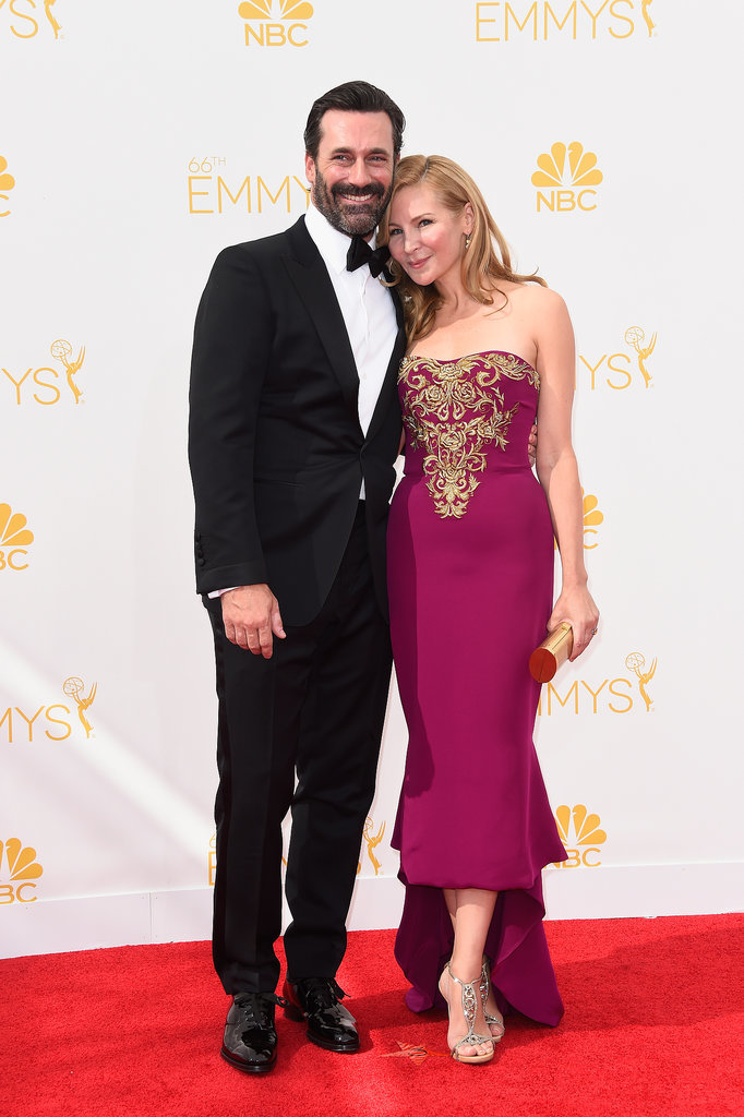 Jon Hamm and Jennifer Westfeldt at the 2014 Emmy Awards