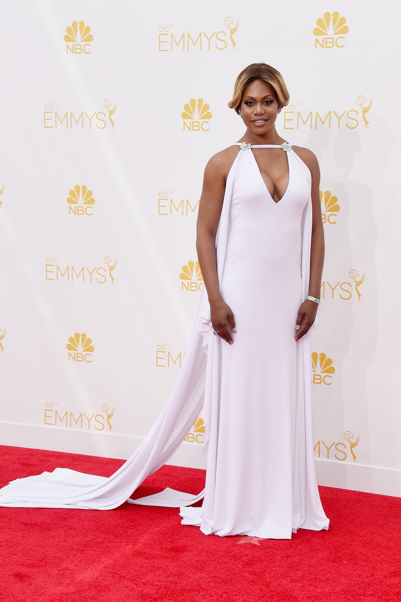 Laverne Cox in Mark Bauer at the 2014 Emmy Awards