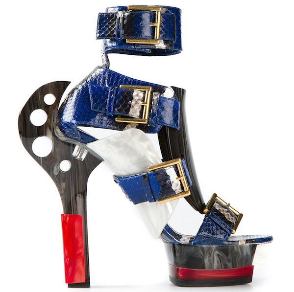 McQ-by-Alexander-McQueen-Strapless-Top-Blue-Printed-Pencil-Skirt-and-Maya-Snake-Printed-Sandals