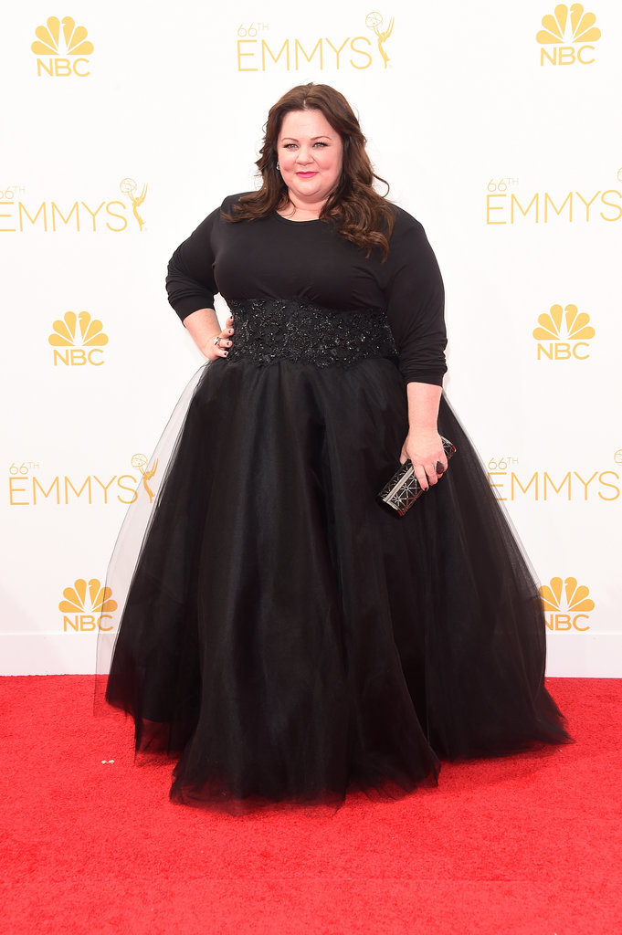 Melissa McCarthy wore a Black Marchesa outfit. She looks good.