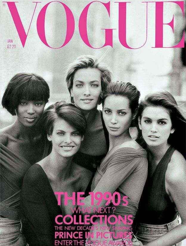 January 1990 The iconic cover features, from left: Naomi Campbell, Linda Evangelista, Tatjana Patitz, Christy Turlington and Cindy Crawford. All photographed wearing tops by Giorgio di Sant'Angelo.