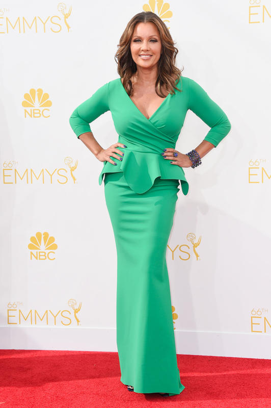 Vanessa Williams in a green peplum dress She accessorized her green dress with blue-and-purple jewels and nails.
