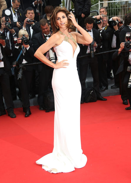 Cannes Film Festival 2013. Cindy Crawford in a gown by Roberto Cavalli