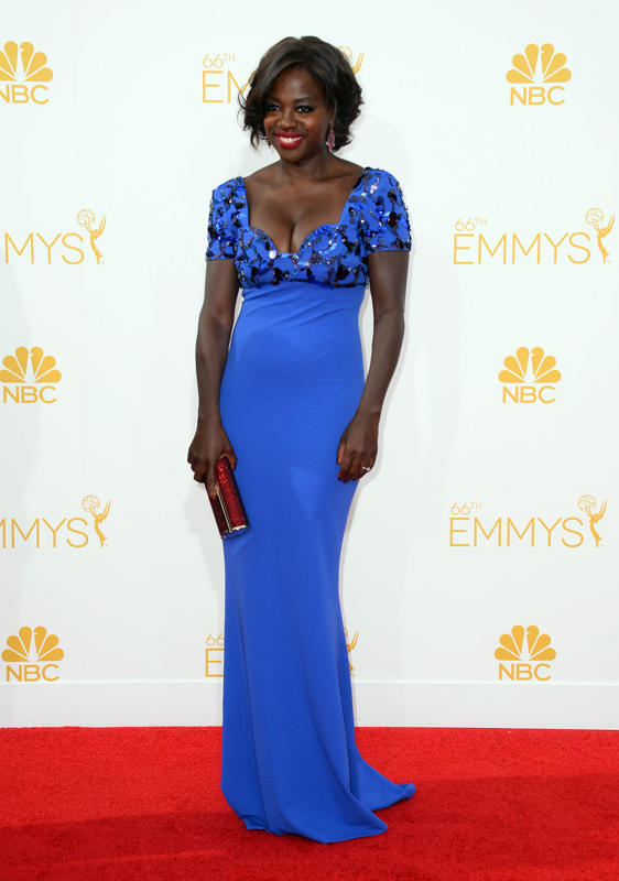 Viola Davis in a bright blue Escada gown with an embroidered bodice and plunging neckline.