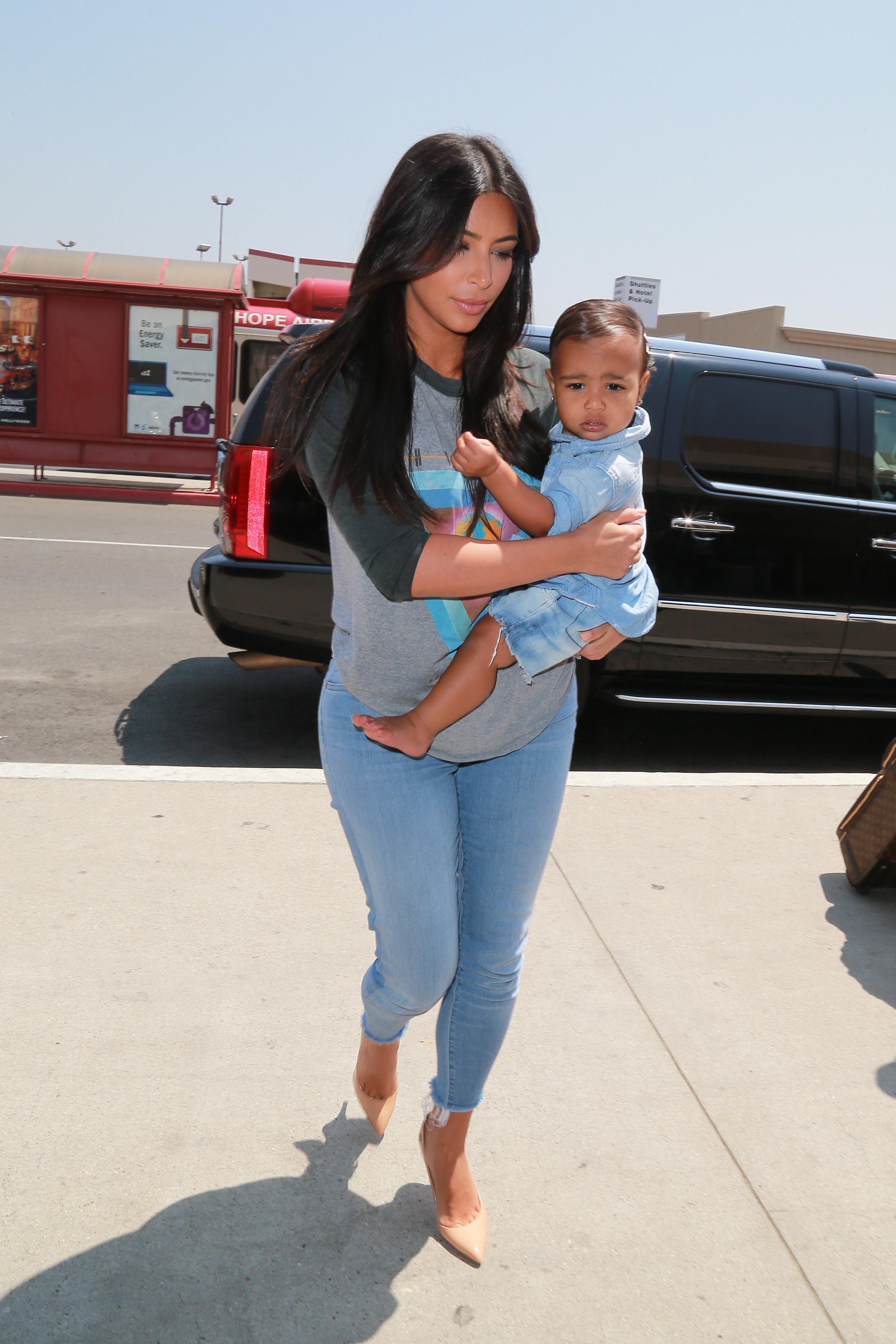 Kim Kardashian with her baby North